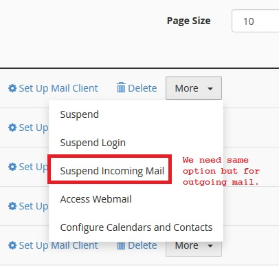 Suspend Outgoing mail for single mail account