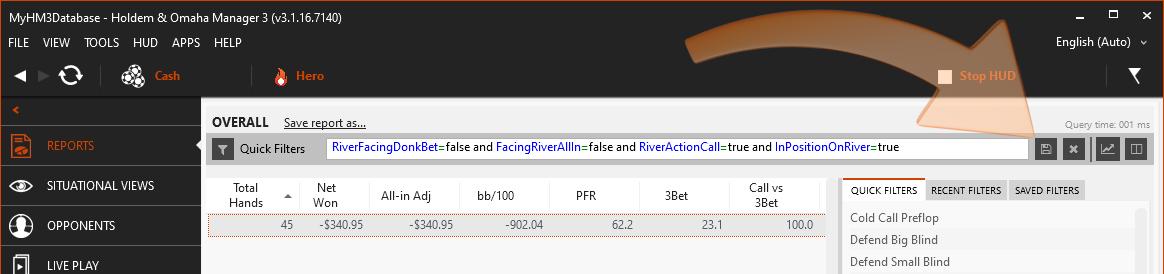 Saving report filters