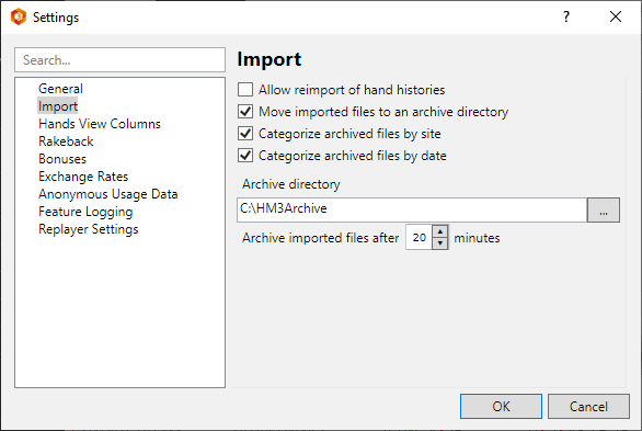 Poker hand import options. Setup an archive for hands.