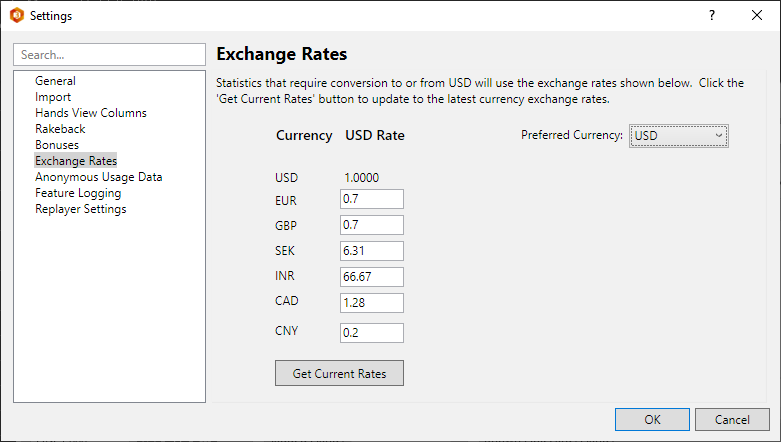 Using exchange rates in poker software.