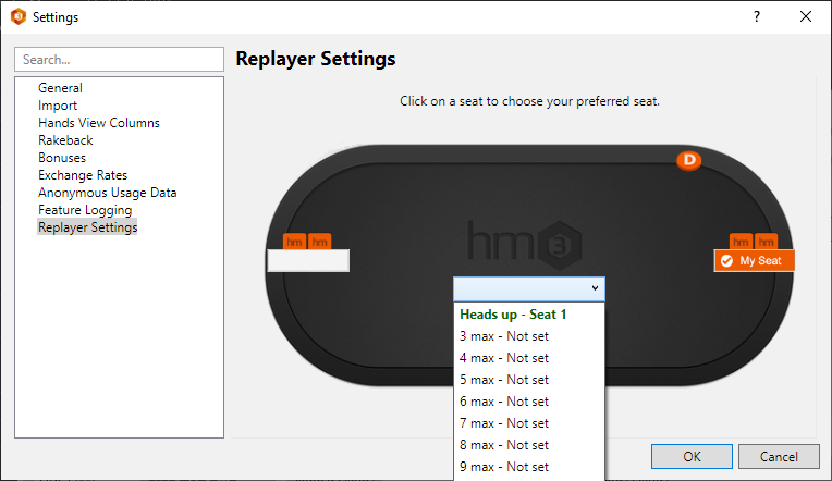Setting up preferred seating in Holdem Manager.