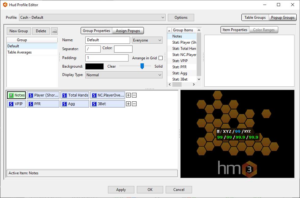 Main HUD Editor user interface.