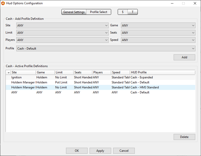 Profile select showing how to assign HUD's to table types.