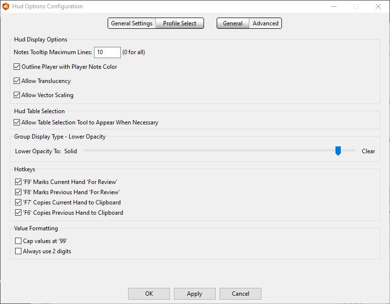 Advanced HUD settings.