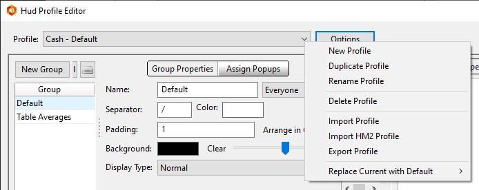 HUD Profile Editor Options