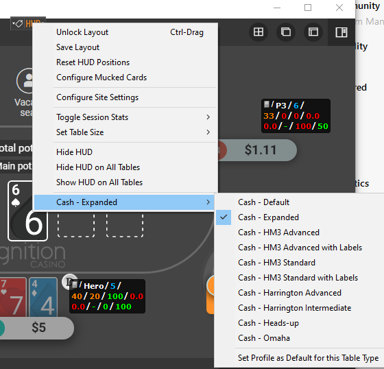 Screen showing how you change your HUD on a live poker trable