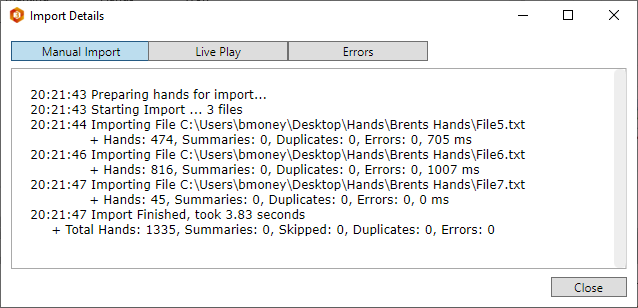 Import details screen showing history and errors.