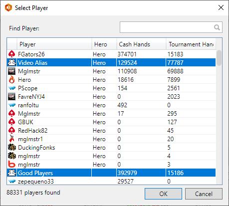 Selecting individual poker players