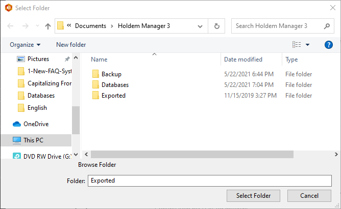 Exporting hands from your database.