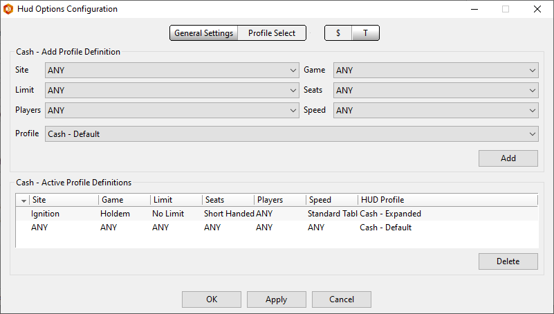 Setting up new HUD profiles for different table types