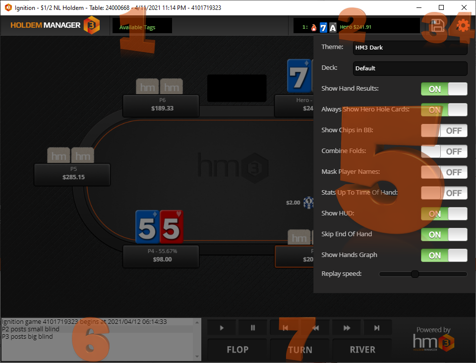 Screen listing out all of the HM3 poker hand replayer options