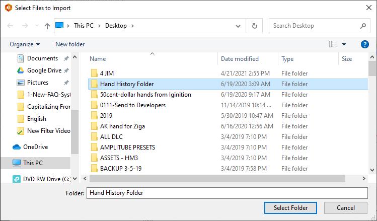 Importing hand history folders