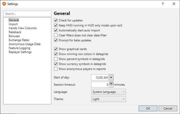 Tools menu settings screen.