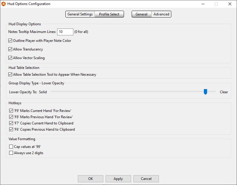 Advanced settings for HUD Options
