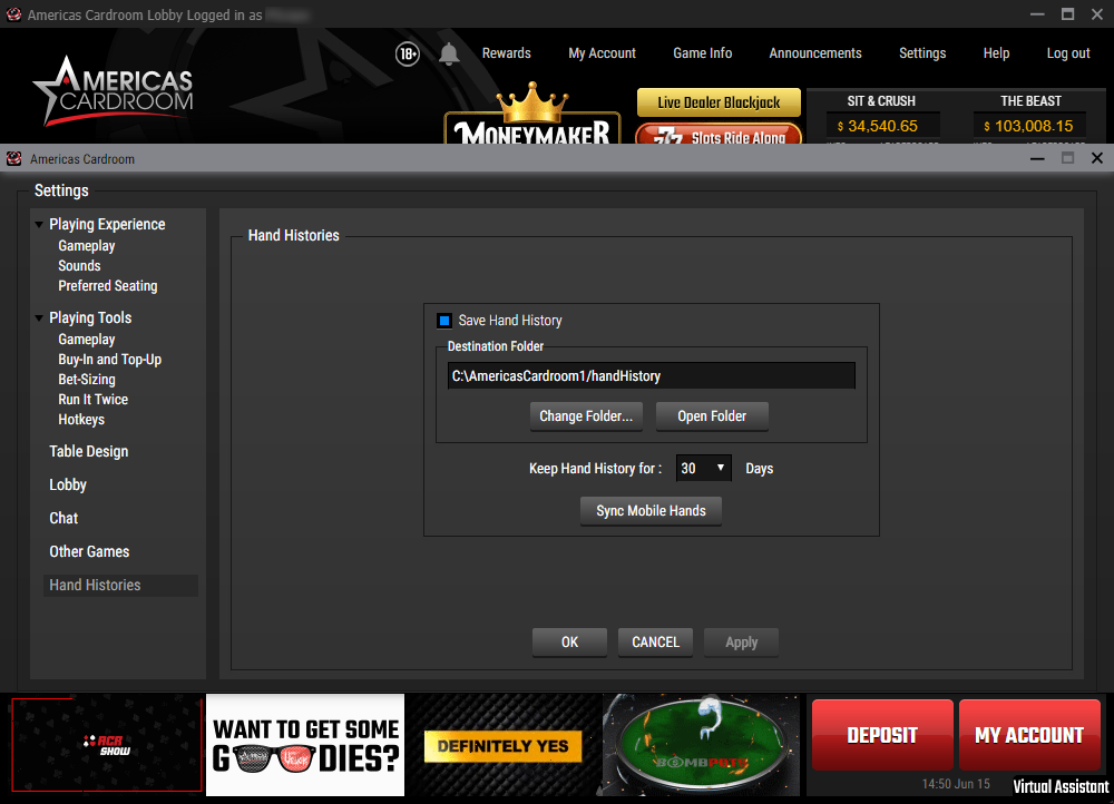 wpn hand history options in poker client