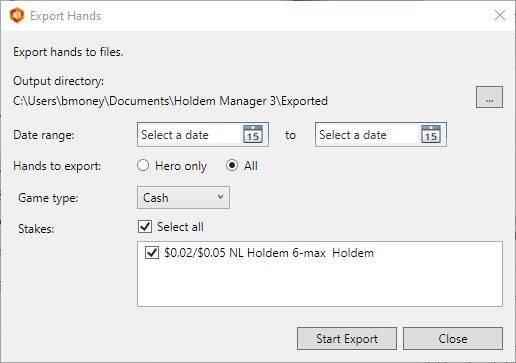 Exporting poker hands to files on your hard drive.