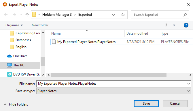 Exporting poker player note files.