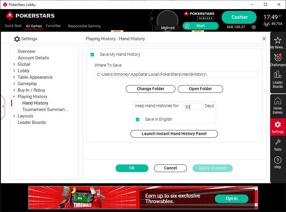 Poker Stars Hand History Options in poker client