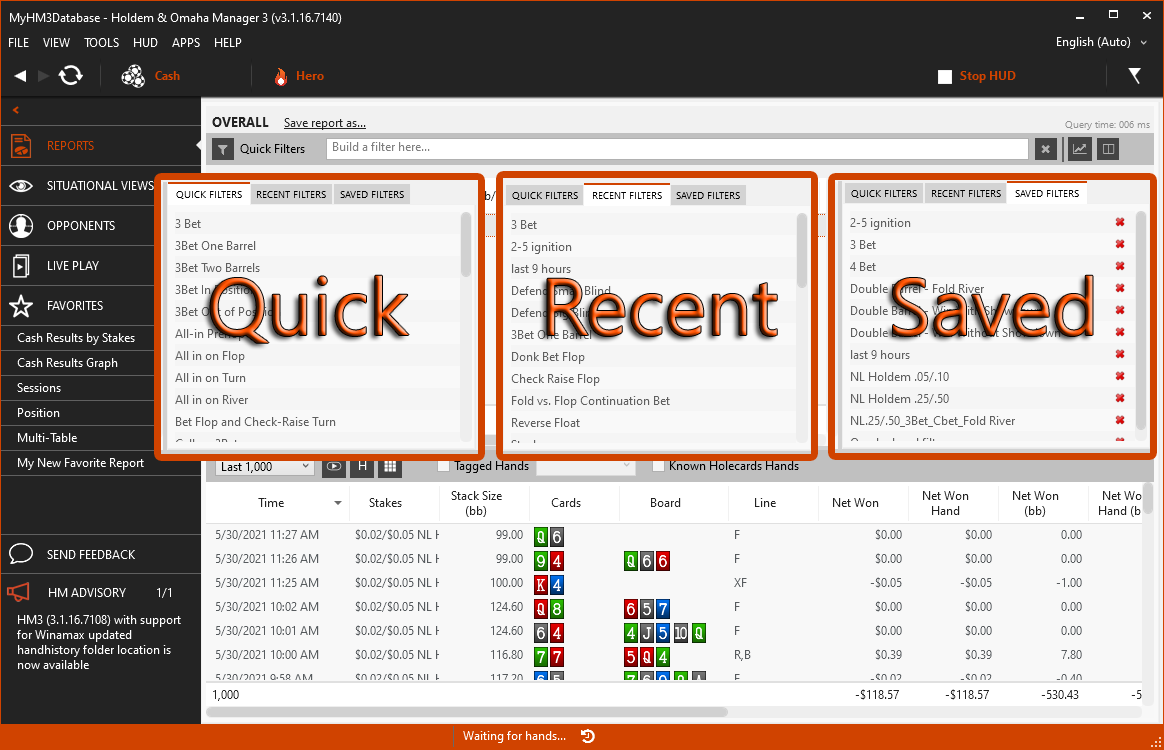 Differences between recent, quick and saved report filters