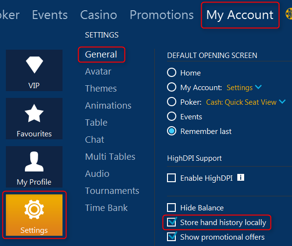 ipoker hand history options in poker client