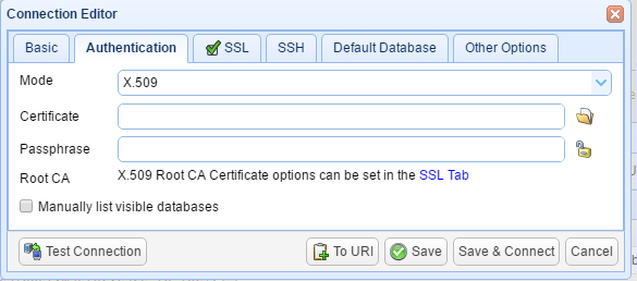 How to connect mongoDB with client SSL certificate